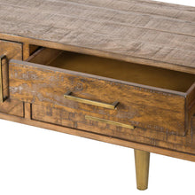 Load image into Gallery viewer, Savanna Gold TV / Media Unit with gold legs. Close up image of drawer.