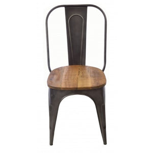 Industrial Bistro dining chair made of steel metal with a mango wood seat.
