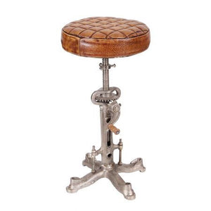 Iron And Leather Adjustable Stool