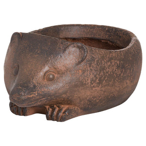 Hedgehog Rustic Planter. View from the front.