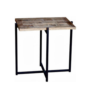 Reclaimed Oak Side Table with metal base. Product image.