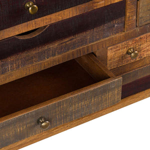 This is the Multi Drawer Reclaimed Industrial Storage Chest Close Up of bottom drawer With Brass Handles.