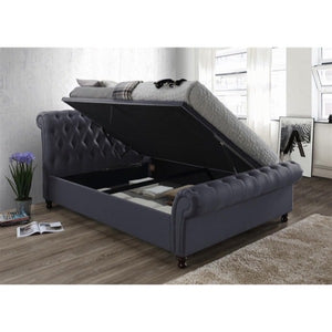 The Dublin Side Ottoman Bed in charcoal fabric. Lifestyle image of ottoman open.