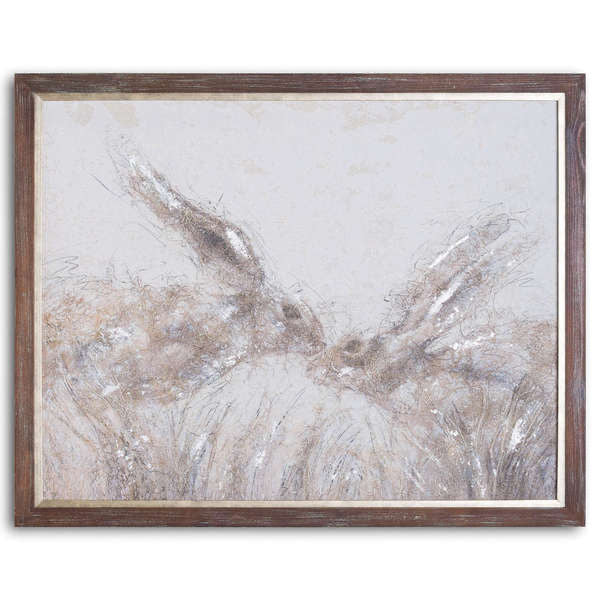 March Hares On Cement Board With Frame. Product image.