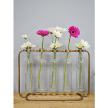 Load image into Gallery viewer, Industrial flower holder vase with metal frame and 5 glass bottles