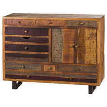 Load image into Gallery viewer, This is the Multi Drawer Reclaimed Industrial Storage Chest With Brass Handles. Product Image.