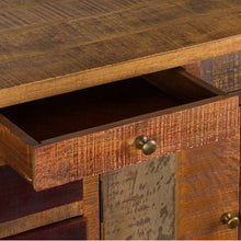 Load image into Gallery viewer, This is the Multi Drawer Reclaimed Industrial Storage Chest Close up of small drawer With Brass Handles.