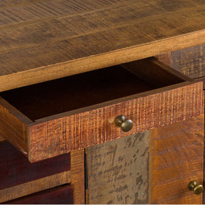 This is the Multi Drawer Reclaimed Industrial Storage Chest Close up of small drawer With Brass Handles.