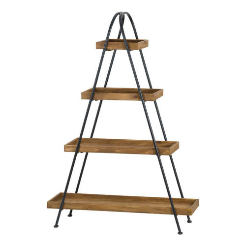 Large Tiered Display Shelf made of metal and fir wood. Product Image.