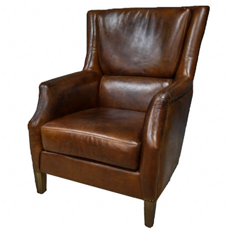 Leather Reading Chair made of brown South American leather with oak feet.