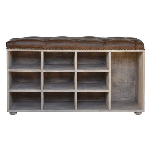 Buffalo Hide leather Shoe Storage Bench with a buttoned top made of mango wood in an acid wash grey finish.