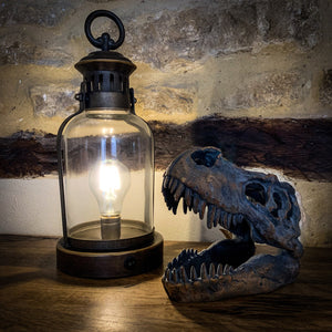 Battery Powered Miners Lantern. Lifestyle image.