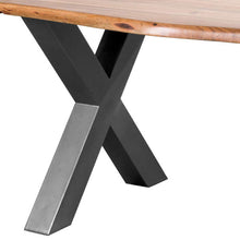 Load image into Gallery viewer, Large Live Edge Table. Close up photo of the criss cross legs of the table
