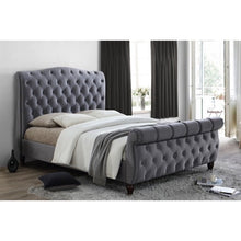 Load image into Gallery viewer, The Harrogate Bed. Upholstered in grey velvet. Lifestyle image.