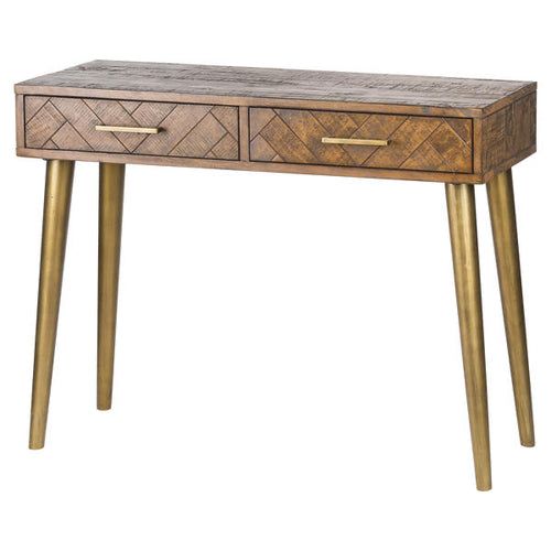 Savanna Gold Console table with 2 drawers and gold legs. Product Image.