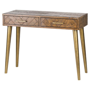 Savanna console table with 2 drawers and gold legs. Product Image.