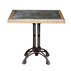 Parisian Square Dining Table with zinc inlay. Product image.