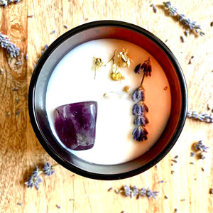 Serenity by Free Spirit Candle Co. Premium candle wxclusive to Auburn Fox. Black Amber & Lavender Infused With Amethyst. Lifestyle image shot from above.
