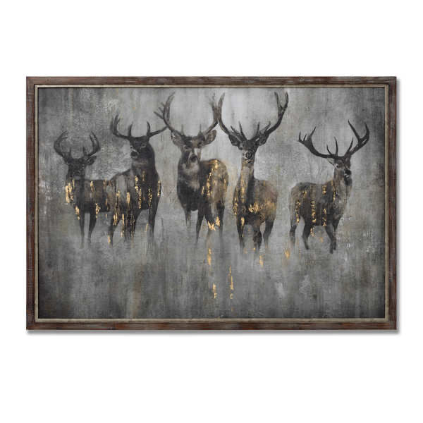 Large Curios Stag Painting on cement board. Product image.