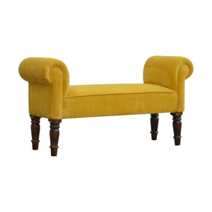 Mustard Yellow Velvet Chaise, bedroom bench or window seat.