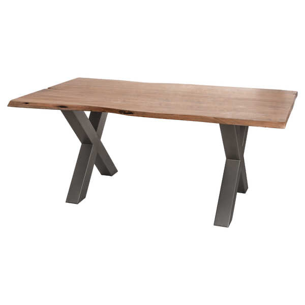 Live Edge Cross Leg Dining Table 180