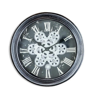 Antique Black & Silver Moving Gear Clock