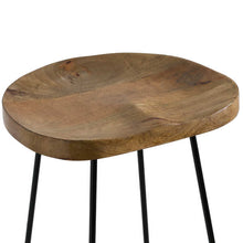 Load image into Gallery viewer, Hubert Hardwood barstool with shaped seat and metal legs. Close up image of shaped seat.