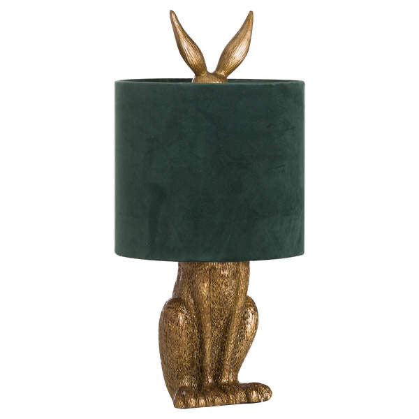 Gold Bunny Table Lamp With Green Velvet Shade. Product image.