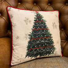 Load image into Gallery viewer, Embroidered Christmas Tree Cushion. Auburn Fox showroom image, Thrapston, Northamptonshire.