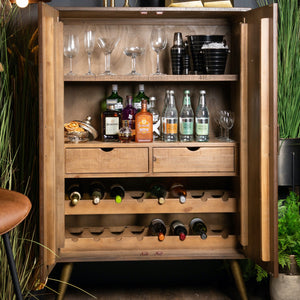 Savanna Gold Drinks Cabinet with doors open. Inside drinks storage lifestyle image.