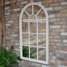 Load image into Gallery viewer, Large Arched Window Mirror in a light grey finish. Lifestyle Image.
