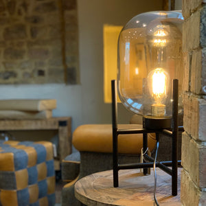 Vintage Industrial Glass Glow Lamp. Auburn Fox showroom image, Thrapston, Northamptonshire.