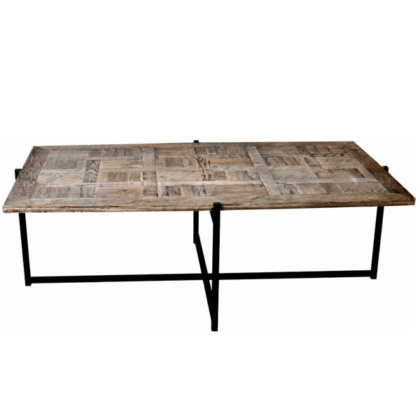 Reclaimed Oak Coffee Table with metal base. Product image.