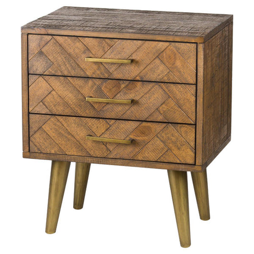 Savanna Three Drawer Bedside with gold legs. Product Image.