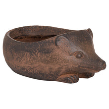 Load image into Gallery viewer, Hedgehog Rustic Planter. View from the side.