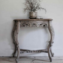 Load image into Gallery viewer, Carved Console Table made of mahogany in a vintage finish.