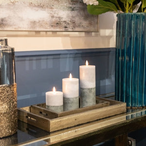 Luxe Collection LED Real Wax Grey Dipped Candle [Large] Lifestyle image in a tray.