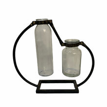 Load image into Gallery viewer, Industrial style double vase with an attractive metal frame.