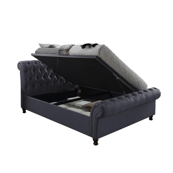 The Dublin Side Ottoman Bed in charcoal fabric. Product image.