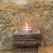 Load image into Gallery viewer, Set Of Rustic Candle Holders close up of tallest candle holder.