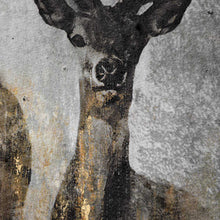 Load image into Gallery viewer, Large Curios Stag Painting on cement board. Close up of stag.
