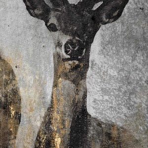 Large Curios Stag Painting on cement board. Close up of stag.
