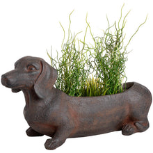 Load image into Gallery viewer, Delightful rustic sausage dog planter made of resin.