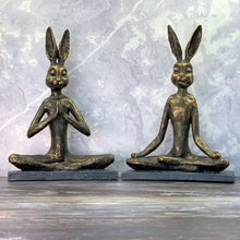 Load image into Gallery viewer, Yoga Bunny Praying and Lotus Position side by side lifestyle image.