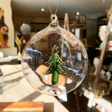 Load image into Gallery viewer, Glass Bauble With Glass Tree Decoration. Auburn Fox showroom image, Thrapston, Northamptonshire.
