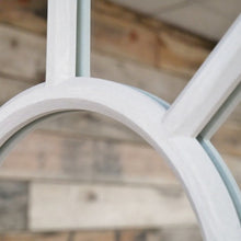 Load image into Gallery viewer, Large Arched Window Mirror in a light grey finish. Close up of mirror.
