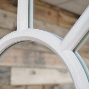 Large Arched Window Mirror in a light grey finish. Close up of mirror.