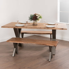 Load image into Gallery viewer, Live Edge Cross Leg Dining Table 180. Lifestyle image.