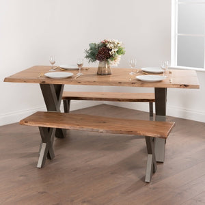 Live Edge Cross Leg Dining Table 180. Lifestyle image.