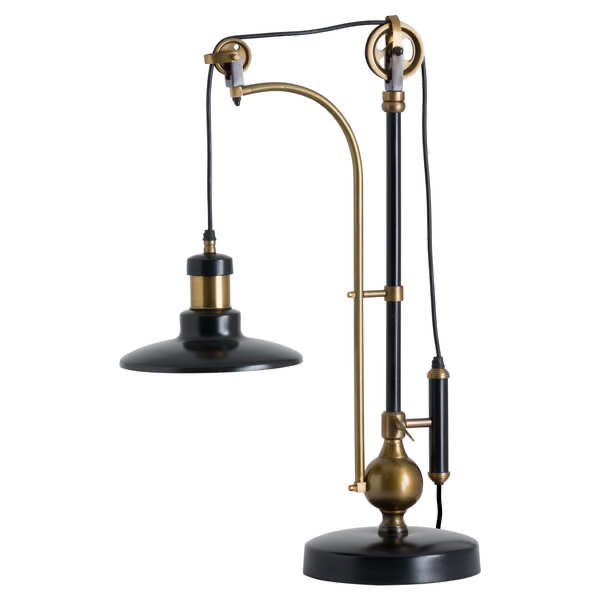 Hugo Adjustable Table Lamp with circular shade and adjustable stem. Finished in black with brass plating. Product image.